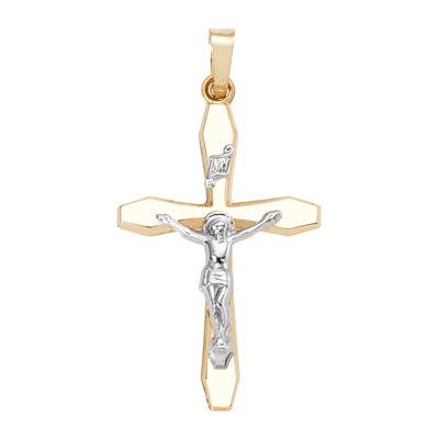 14K Two-Tone Gold Polished Crucifix Charm Pendant