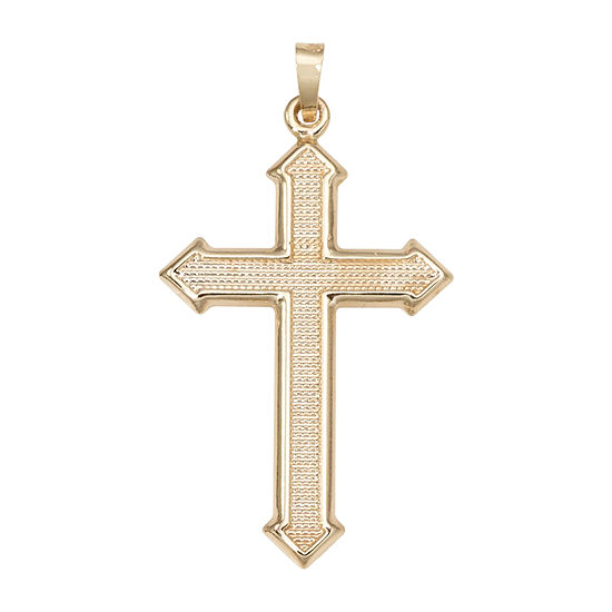 14K Yellow Gold Large Beaded Passion Cross Charm Pendant