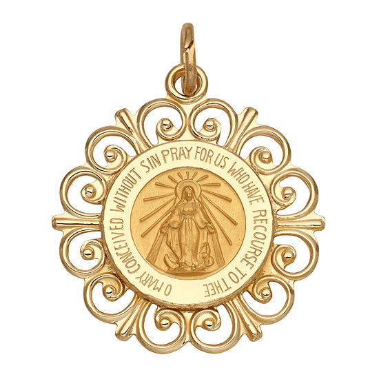14K Yellow Gold Round Framed Miraculous Medal Charm Pendant