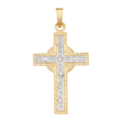 14K Two-Tone Gold Diamond Cross Charm Pendant