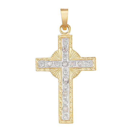 14K Two-Tone Gold Diamond Cross Charm Pendant