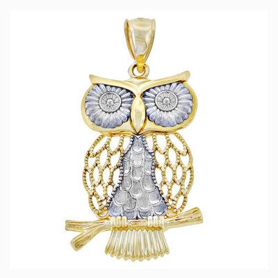 14K Two-Tone Gold Swinging Owl Charm Pendant