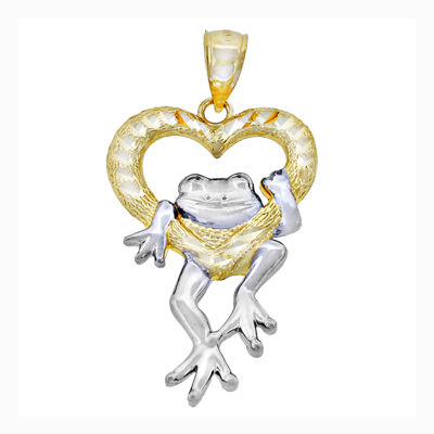 14K Two-Tone Gold Diamond-Cut Frog in Heart Charm Pendant