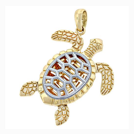 14k Two Tone Gold Turtle Charm Pendant