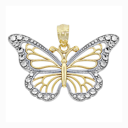 14K Two-Tone Gold Diamond-Cut Butterfly Charm Pendant