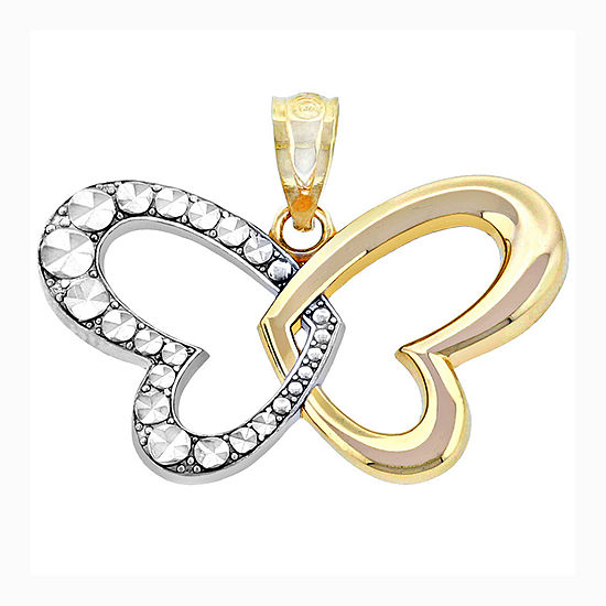 14K Two-Tone Gold Butterfly Heart Charm Pendant