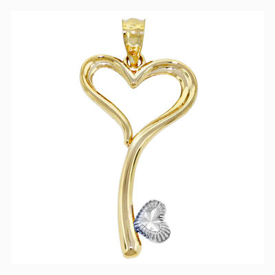 14K Two-Tone Gold Heart Key Charm Pendant