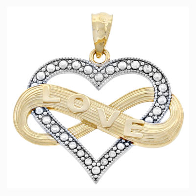 14K Two-Tone Gold Infinity Love Hear Charm Pendant