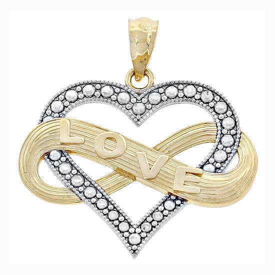 14K Two-Tone Gold Infinity Love Hear Charm Pendant
