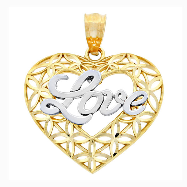 14K Two-Tone Gold Diamond-Cut Love Heart Charm Pendant