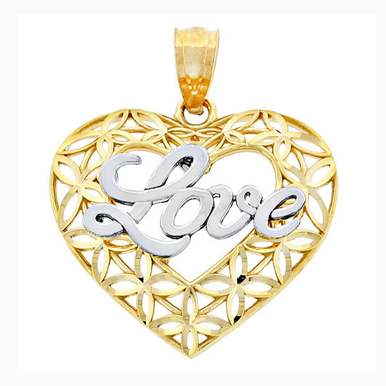 14K Two-Tone Gold Diamond-Cut Love Heart Charm Pendant