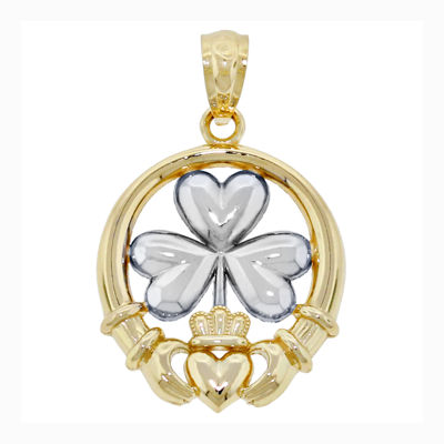 14K Two-Tone Gold Shamrock Claddagh Charm Pendant