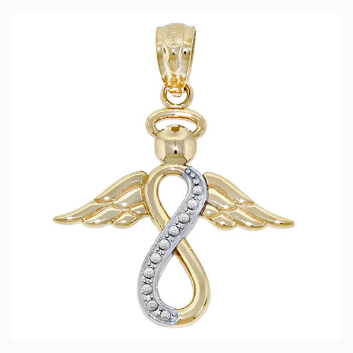 14K Two-Tone Gold Infinity Angel Charm Pendant