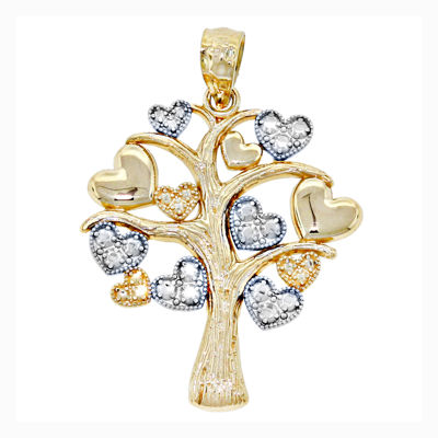 14K Two-Tone Gold Family Heart Tree Charm Pendant