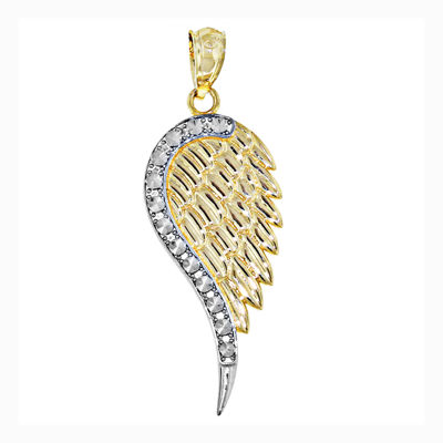 14K Two-Tone Gold Angel Wing Charm Pendant