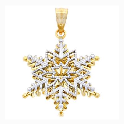 14K Two-Tone Gold Snowflake Charm Pendant