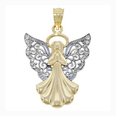 Religious Jewelry 14K Two-Tone Gold Filigree Angel Charm Pendant