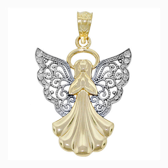 14K Two-Tone Gold Filigree Angel Charm Pendant