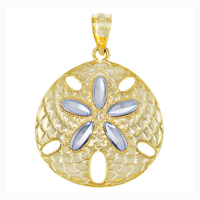 14K Two-Tone Gold Sand Dollar Charm Pendant