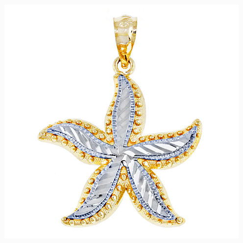 14K Two-Tone Gold Starfish Charm Pendant