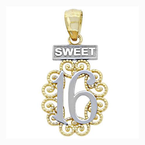"14K Two-Tone Gold ""Sweet 16"" Charm Pendant"