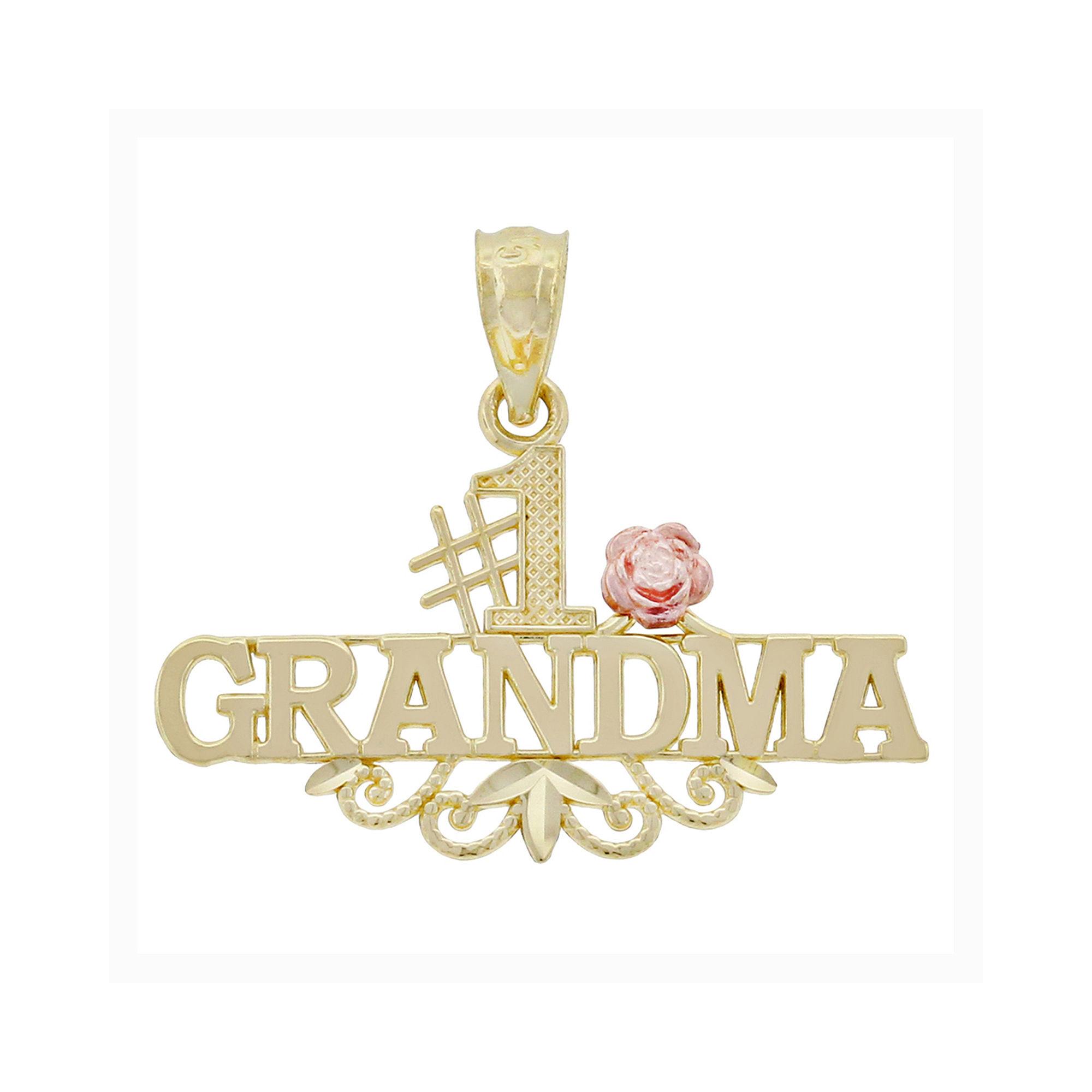 "14K Two-Tone Gold ""no.1 Grandma"" Charm Pendant"