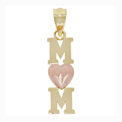 "14K Two-Tone Gold ""Mom"" Heart Charm Pendant"
