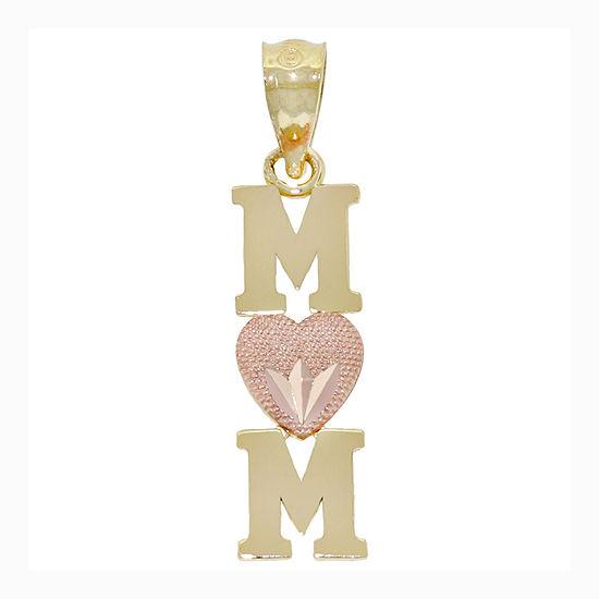 "14K Two-Tone Gold ""Mom"" Heart Charm Pendant"