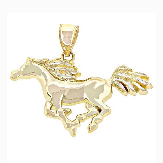 14K Yellow Gold Running Horse Charm Pendant