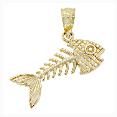 14k Yellow Gold Bonefish Charm Pendant