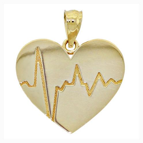 14K Yellow Gold Polished Heartbeat Charm Pendant