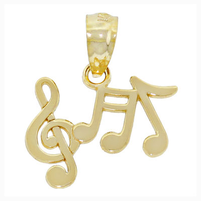 14K Yellow Gold Music Notes Charm Pendant