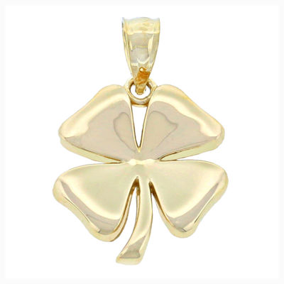 14K Yellow Gold Four Leaf Clover Charm Pendant