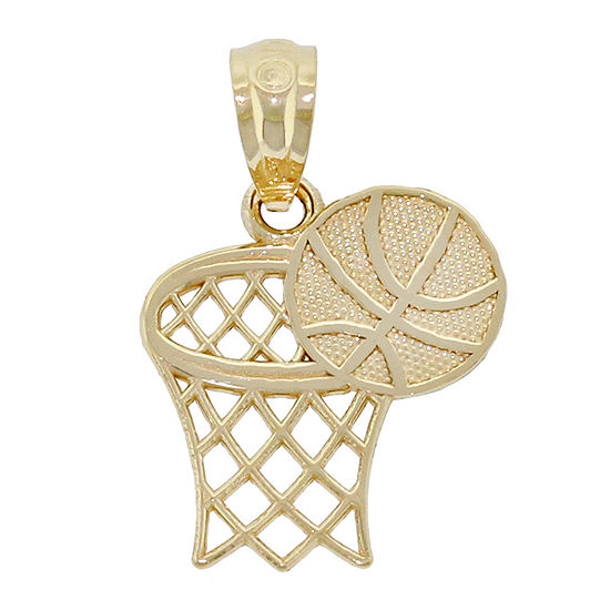 14K Yellow Gold Basketball Hoop Charm Pendant