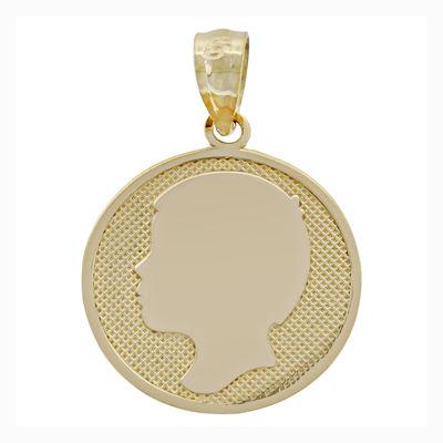 14K Yellow Gold Boy Silhouette Charm Pendant