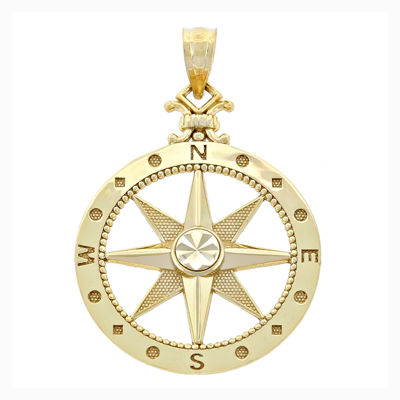 14K Yellow Gold Polished Diamond-Cut Compass Charm Pendant