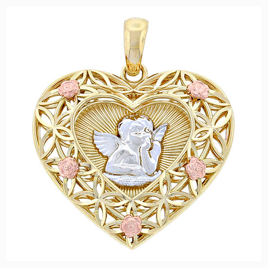 14k Tri Color Gold Cherub Heart Charm Pendant