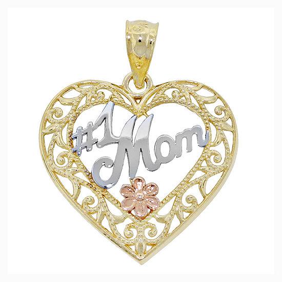 """14K Tri-Color Gold Filigree """"no.1 Mom"""" Heart Charm Pendant"""
