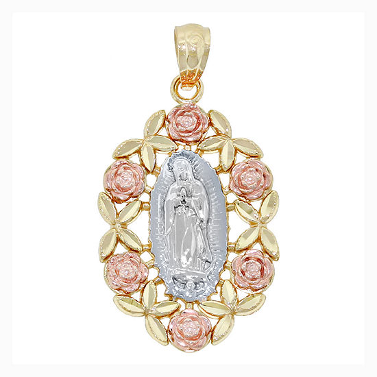 Religious Jewelry 14K Tri-Color Gold Guadalupe Rose Charm Pendant