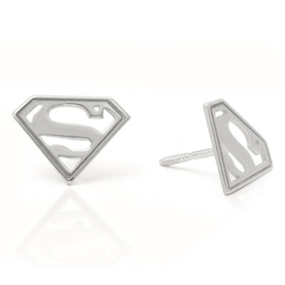 Sterling Silver 8.7mm DC Comics Stud Earrings