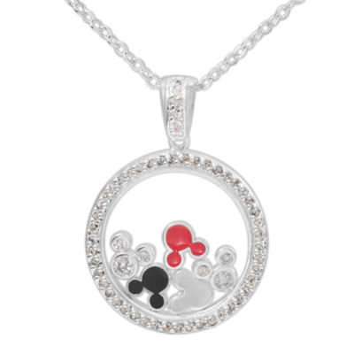 Disney Mickey Mouse Brass Cubic Zirconia Floating Pendant Necklace