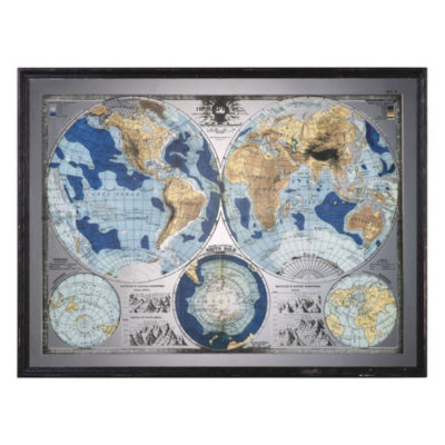 Mirrored World Map Framed Wall Art