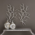 Set of 2 Silver Branch Wall Decoration