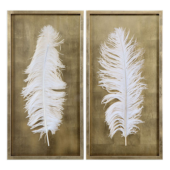Set of 2 White Feather Wall Decoration