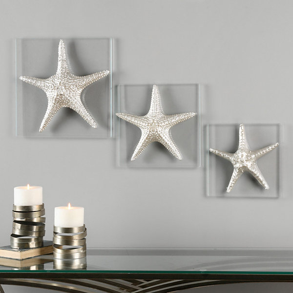 Set of 3 Silver Starfish Wall Hangings