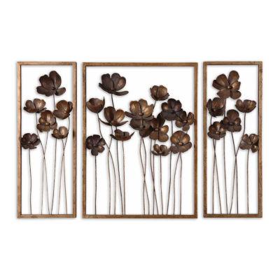 Set of 3 Metal Tulips Wall Art