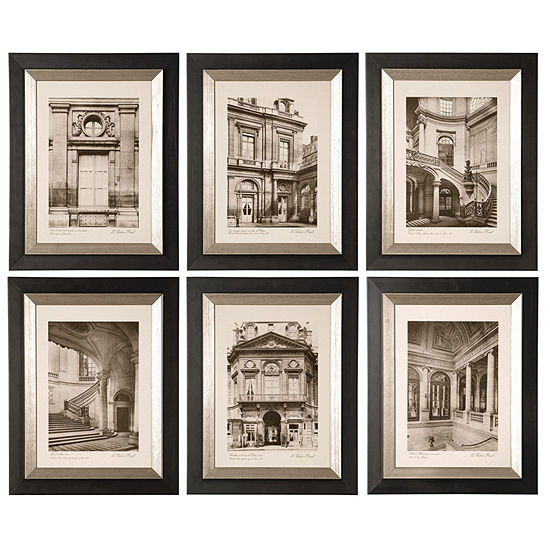 Set Of 6 Paris Scenes Framed Wall Art