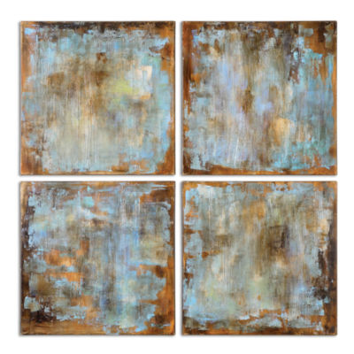Set of 4 Wall Art Accent Tiles