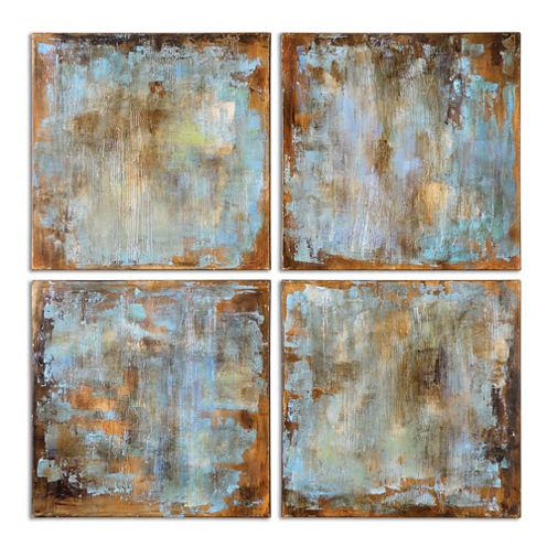 Set of 4 Wall Art Accent Tiles