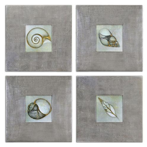 Set of 4 Neptune's Garden Framed Wall Art